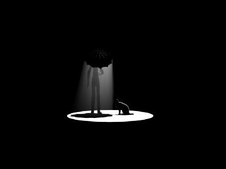 Анимация Девушка с зонтом, гладит кошку (© Seona), добавлено: 26.05.2015 10:05