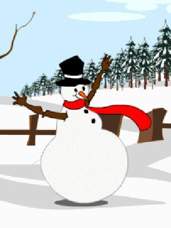 Анимация Снеговик в красном шарфе и черной шляпе-котелке танцует веселый танец