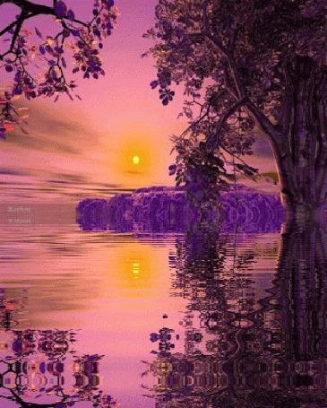 Анимация Закат на розово-сиреневой реке (© Ловетта), добавлено: 26.05.2015 15:54