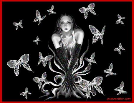 Анимация Девушка в черных перчатках на темном фоне с бабочками (© qalina), добавлено: 26.05.2015 18:55