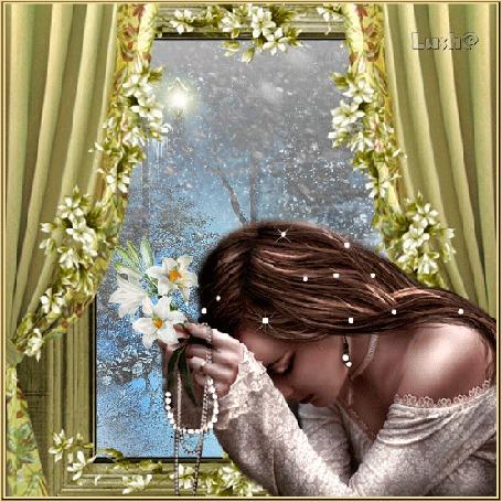 Анимация Грустная девушка сидит у окна с цветами в руках