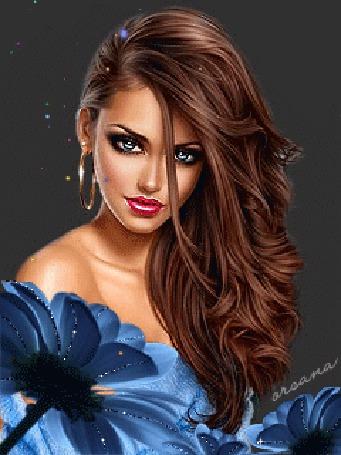 Анимация Красивая девушка с длинными волосами в голубом наряде на фоне цветка / Orsana (© qalina), добавлено: 26.05.2015 19:30
