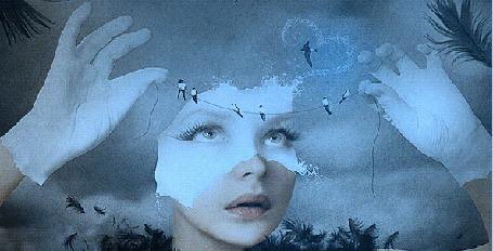 Анимация Девушка в белых перчатках и забрызганной молоком частью лица, развешивает провода с сидящими на них ласточками (© Akela), добавлено: 26.05.2015 19:30