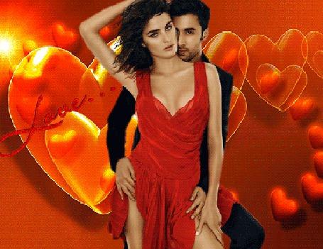 Анимация Мужчина брюнет в черном костюме обнимает сзади девушку брюнетку в красном платье, за ними большие красные сердечки и маленькие сердечки водят хоровод, Love (Любовь) (© Akela), добавлено: 26.05.2015 19:37
