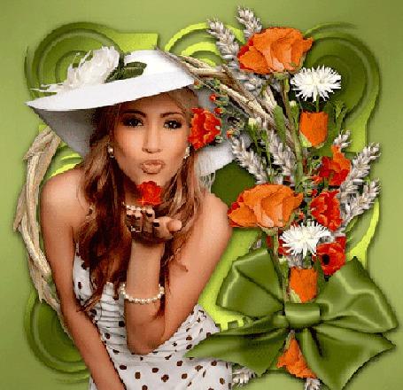 Анимация Девушка в белом платье в горошек и в белой широкополой шляпе, на фоне зеленой абстракции и цветов с зеленым бантом, посылает воздушные поцелуи с руки в виде красных роз