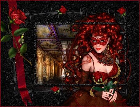 Анимация Девушка с красными волосами в маске и с красной розой в руках на фоне старинного замка (© qalina), добавлено: 26.05.2015 19:52