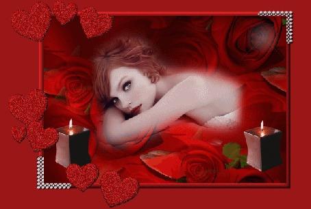 Анимация Девушка на фоне красных роз и сердечек с горящими свечами (© qalina), добавлено: 26.05.2015 20:09
