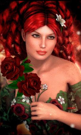 Анимация Девушка с рыжими волосами с розами