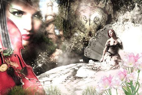 Анимация Девушка со скрипкой и ее муза, на сером фоне. На переднем плане куст розовых цветов