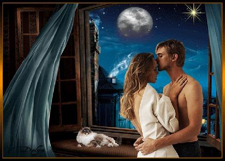 Анимация У раскрытого окна стоят обнявшись девушка и мужчина, на подоконнике лежит кот, в окне видны дома, небо, луна и звездочка