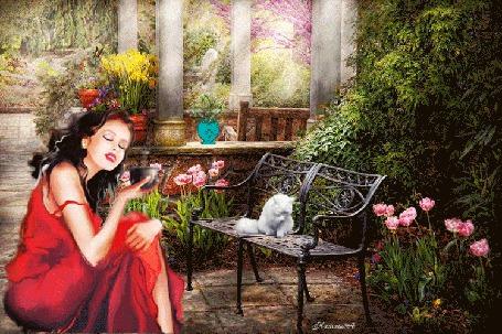 Анимация Девушка с чашкой в руке в интерьере сада, рядом кот на скамейке, НаташА (© Natalika), добавлено: 27.05.2015 10:09