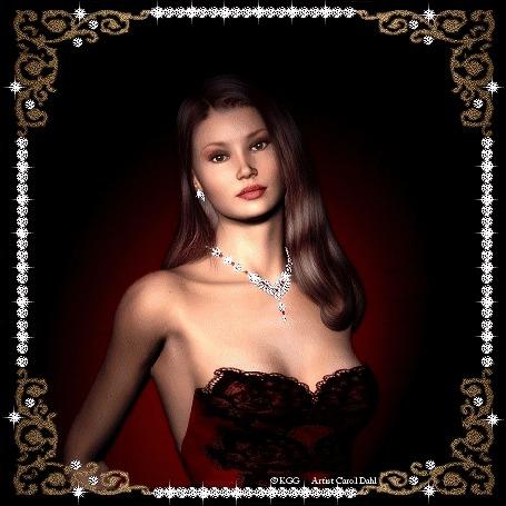 Анимация Девушка на бордовом фоне с ожерельем на шее и сережке