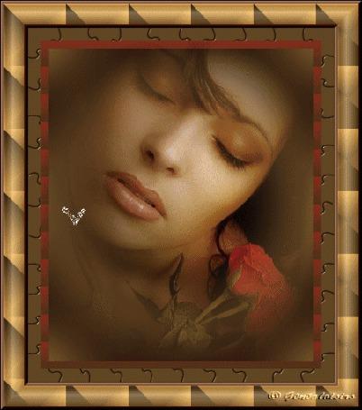 Анимация Девушка с красной розой с закрытыми глазами на фоне сердечек