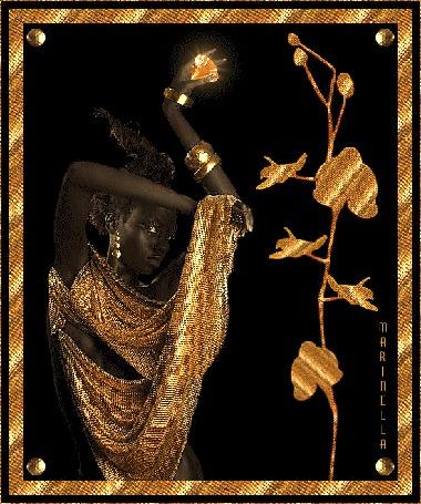 Анимация Девушка негритянка с алмазом в руке и украшениями на руках (© qalina), добавлено: 27.05.2015 20:27