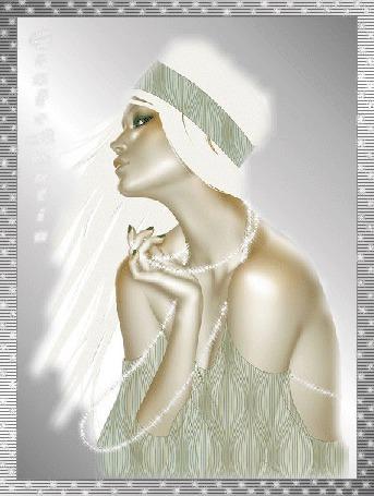 Анимация Девушка в белой шляпке с бусами на сером фоне (© qalina), добавлено: 27.05.2015 20:51