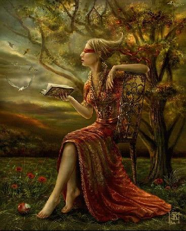 Анимация Девушка сидит на стуле с закрытыми глазами и с книгой в руке на фоне дерева иптиц (© qalina), добавлено: 27.05.2015 21:00
