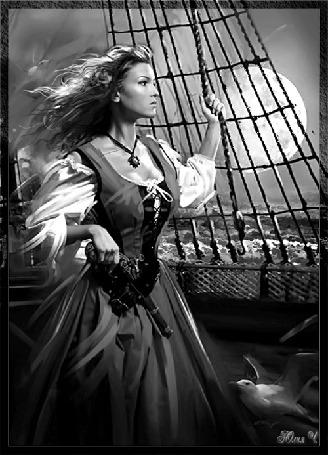 Анимация Девушка на корабле на фоне луны и моря (© qalina), добавлено: 27.05.2015 21:36
