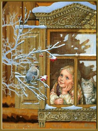 Анимация Девочка с котиком смотрит из окна на птичку (© qalina), добавлено: 27.05.2015 21:42