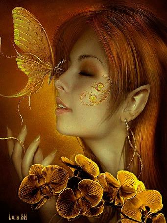 Анимация Девушка с бабочкой на носу и желтыми цветами