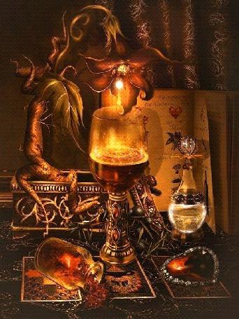 Анимация Магический стол с волшебным цветком и атрибутикой (© qalina), добавлено: 27.05.2015 22:35