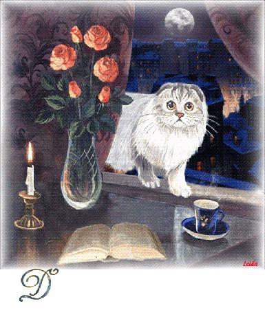 Анимация Кот на фоне луны свечи и цветов с надписью добрый вечер