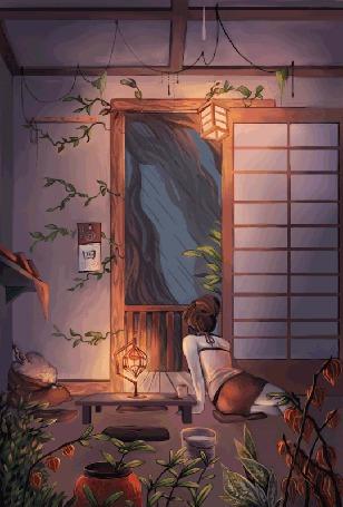 Анимация Девушка сидит в доме, глядя на дождь за окном (© Seona), добавлено: 28.05.2015 13:53