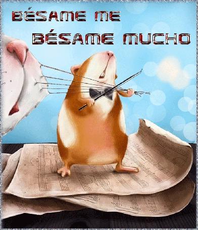 Анимация Мышка играет смычком на усах кота мелодию, стоя на нотах (Besame me Besame mucho) (© Natalika), добавлено: 28.05.2015 15:22