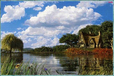 Анимация Домик на природе возле озера, порхают бабочки, по небу плывут облака, Leila