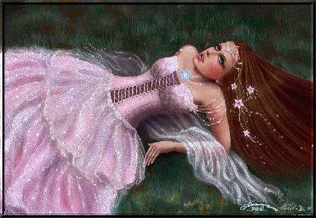 Анимация Девушка в розовом платье лежит на траве и смотрит в небо (© qalina), добавлено: 28.05.2015 18:25