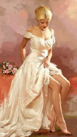 Анимация Красивая блондинка в белом платье с розовыми цветами (© qalina), добавлено: 28.05.2015 19:48
