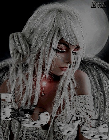 Анимация Девушка в сером на фоне луны автор ЕВА (© qalina), добавлено: 28.05.2015 20:12