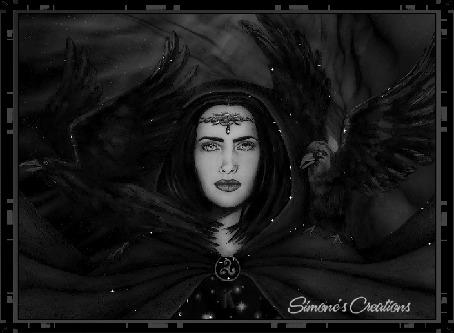 Анимация Готическая девушка с вороньем, в темной одежде / Simones Creations