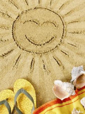 Анимация Ракушки, шлепки, полотенце на песке с нарисованным солнышком, biku (© Natalika), добавлено: 29.05.2015 19:08