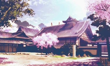 Анимация Лепестки сакуры облетают на фоне традиционных японский домов (© eka_terinka), добавлено: 30.05.2015 05:56