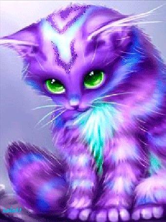 Анимация Радужный сиренево-голубой котенок с зелеными глазами, Lola 31 (© Natalika), добавлено: 30.05.2015 10:35