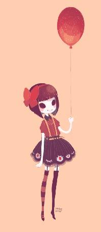 Анимация Девушка с мигающими глазами на юбке держит воздушный шарик