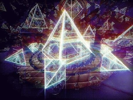 Анимация Вращающиеся разного размера пирамиды (© zmeiy), добавлено: 31.05.2015 11:26