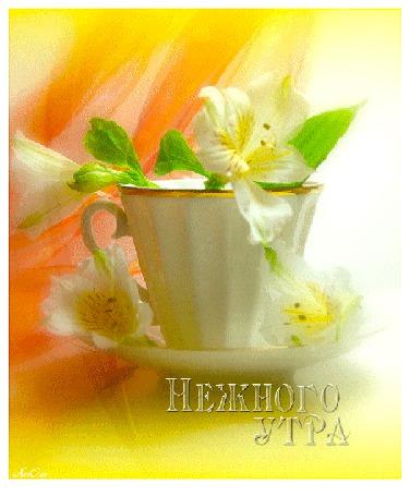 Анимация Цветок лилии в белой чашке на желтом фоне (Нежного утра) АссОль (© Natalika), добавлено: 31.05.2015 12:07