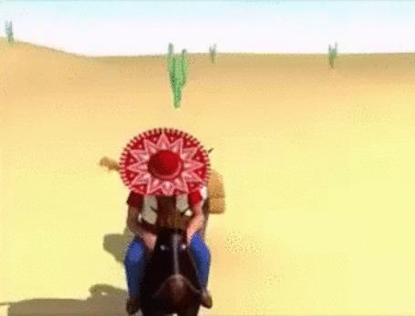 Анимация Песочного цвета варанчик с любопытством наблюдает за мирно дремлющим мужчиной в шляпе сомбреро и гитарой за спиной, неторопливо продвигающимся по пустынному ландшафту с кактусами, на своей голубоглазой лошадке. (фрагмент из клипа Для поднятия настроения) (© Георгий Тамбовцев), добавлено: 31.05.2015 16:29