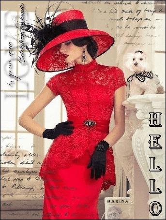 Анимация Девушка в красном платье и красной шляпе в черных перчатках с надписью HELLO автор Марина (© qalina), добавлено: 31.05.2015 20:51
