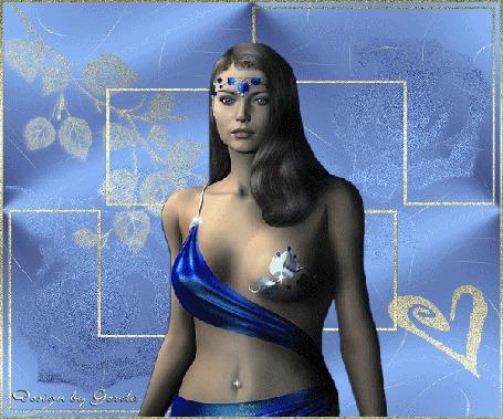 Анимация Девушка на голубом фоне в синем наряде с голубым украшением на лбу автор gerda (© qalina), добавлено: 31.05.2015 21:35