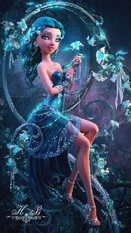 Анимация Девушка в голубом наряде на голубом фоне с цветами в руках автор Н В
