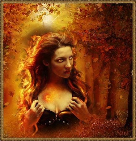 Анимация Девушка на фоне осеннего леса автор МИРА (© qalina), добавлено: 31.05.2015 22:42