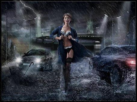 Анимация Полураздетая девушка шагает по дороге под дождем на фоне машин автор МИРА (© qalina), добавлено: 31.05.2015 22:45