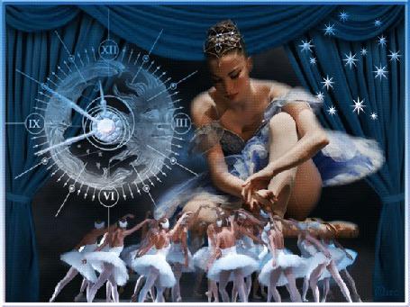 Анимация Девушка балерина с балеринами на фоне часов автор МИРА (© qalina), добавлено: 31.05.2015 22:51