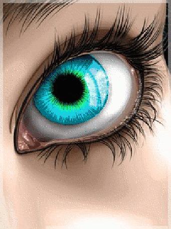 Анимация Мерцающий разными цветами девичий глаз