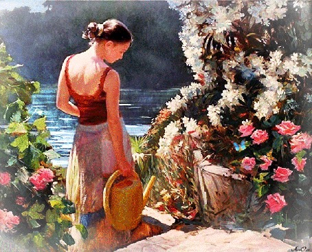 Анимация Девушка с лейкой в руке рядом с кустами цветов и водоемом, бабочки порхают на цветах, АссОль (© Natalika), добавлено: 01.06.2015 09:29