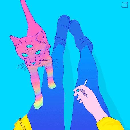 Анимация Розовая кошка с глазом во лбу поставила передние лапы девушки на ногу (© chucha), добавлено: 01.06.2015 11:50