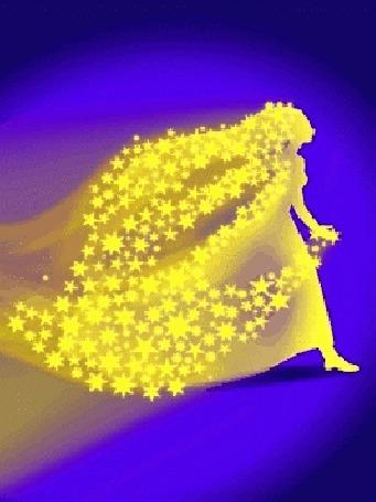 Анимация Из мозаки складывается и рассыпается изображение идущей солнечной девушки, усыпанной звездами (© Akela), добавлено: 01.06.2015 12:22