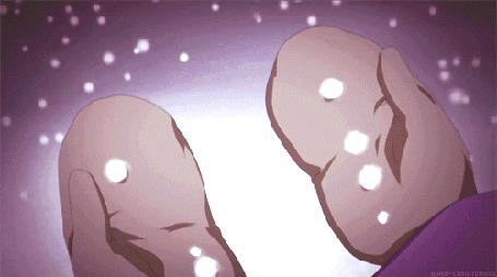 Анимация Маленькая девочка в лесу во время снегопада ловит снежинки, кадр из аниме Рыцарь вампир